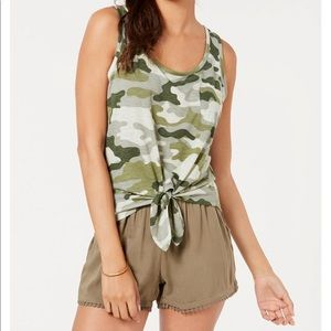 Camo Camouflage Knot front Sleeveless Tank Top